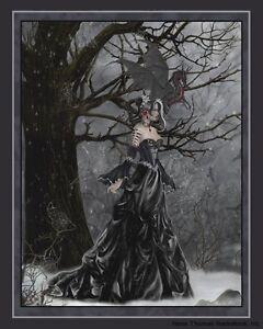 Nene Thomas Fantasy Art Print 8x10 Queen of Shadows Black White Fairy Witch New