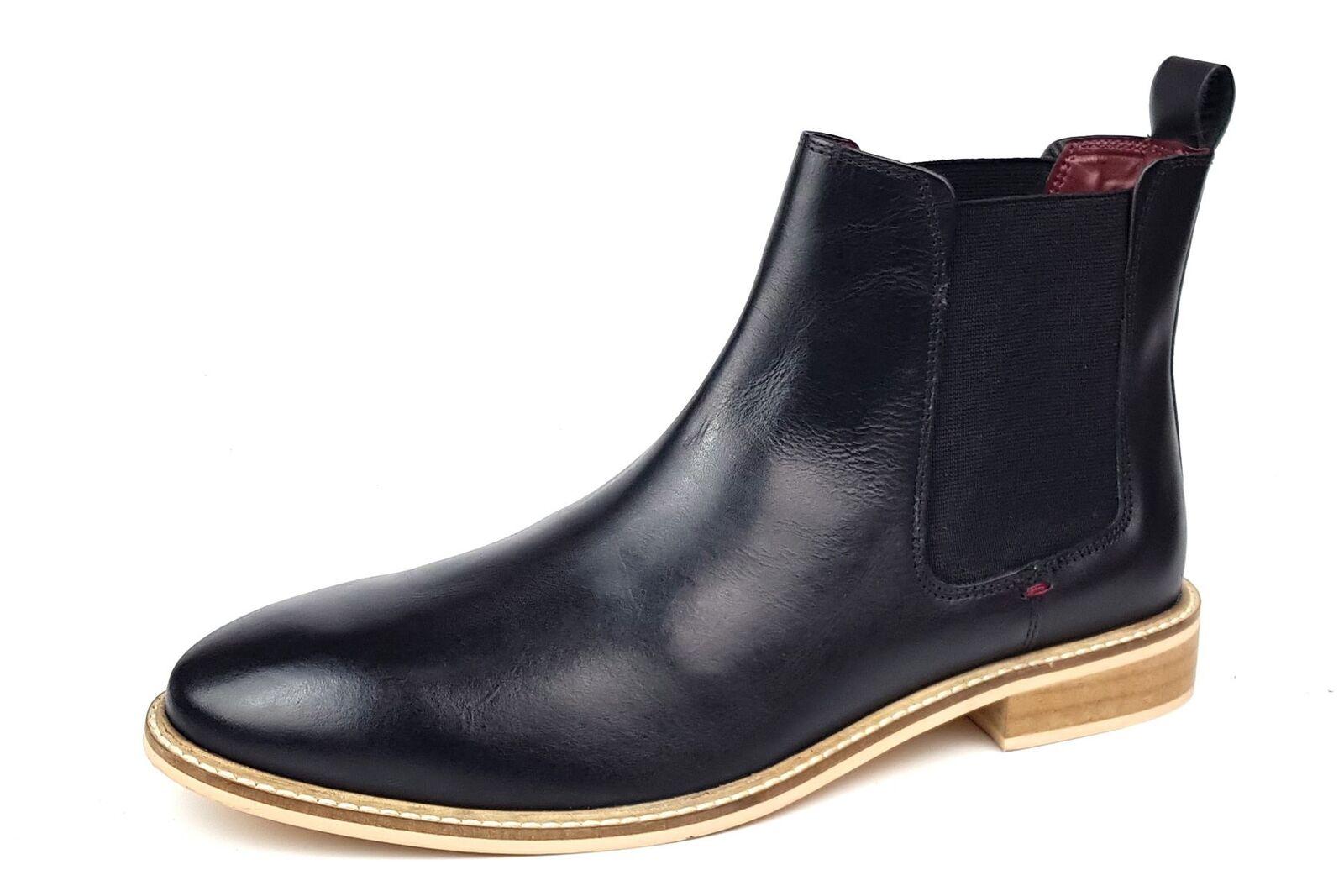 Frank James Bromley Leder Hineinschlüpfen Chelsea Stiefel black Größe 7 8 9 10