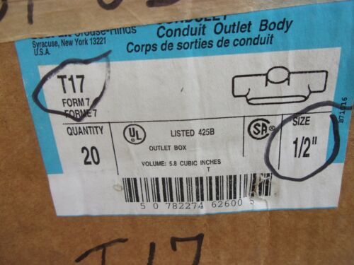 """Crouse /& Hinds 1//2/"""" 3 Way T 17 Form IMC Rigid Iron Conduit Body Tee Junction USA"""