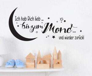 Ich hab Dich lieb zum Mond Kinderzimmer Baby Wandspruch