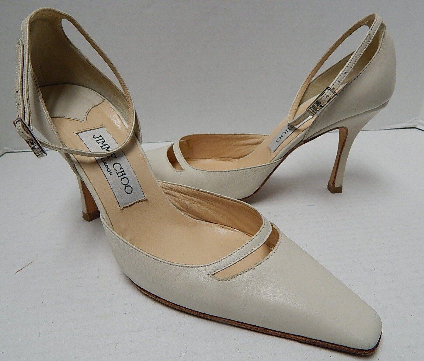 Jimmy Choo 37.5 7M Ivory Leder Ankle Strap Pump Heels