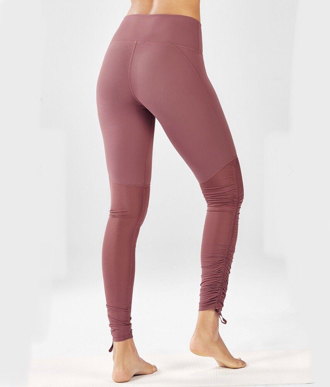 Fabletics Cashel Umschlag Pureluxe Leggings XS Pink Rouge Geschnürt Rüschen Hose