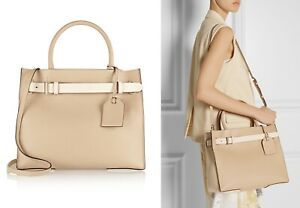 Reed-Krakoff-RK40-Tote-Handbag-Beige-Colorblock-Leather-Purse-Made-in-Italy