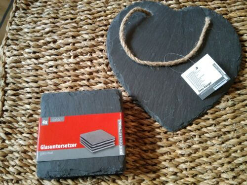 Slate Coasters /& Heart Plaque 20x20cm with Tape//Deco//Slate Blackboard NEW