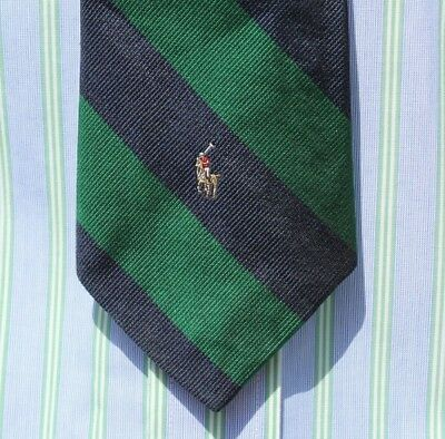 Polo by Ralph Lauren Boy's Green & Navy Blue Striped All Silk Skinny Necktie USA