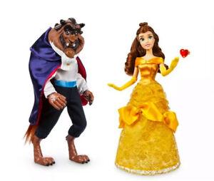 NEW Disney Store Beauty And The Beast set of 2 dolls Beast 12 Bella 11//2