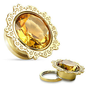 Pair-Lotus-Flower-Topaz-CZ-Gold-IP-Surgical-Steel-Screw-Fit-Tunnel-Ear-Plugs