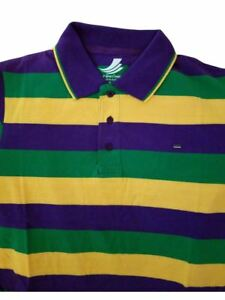 dde810eab Adult 3X XXXL Mardi Gras Rugby Stripe Purple Green Yellow Knit SS ...