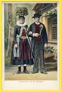 cpa-Costume-National-Folklore-SUISSE-SWITZERLAND-Volkstracht-von-St-GEORGEN