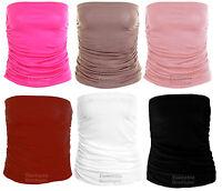 Ladies Ruched Bandeau Coloured Boobtube Vest T-shirt Crop Bra Women's Top 8-14