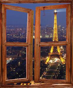 Sticker Trompe Loeil Fenêtre Déco Tour Eiffel Réf 729 Ebay
