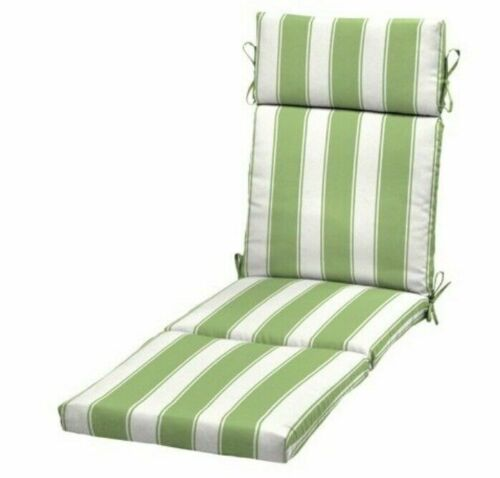 Green Stripe Patio Chaise Lounge Cushion Quality Outdoor Deck Replacement Seat