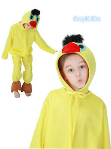 F4-2-Girls-amp-Boys-Duck-Costume-World-Book-Day-Week-Fancy-Dress-Outfit-Jumpsuit