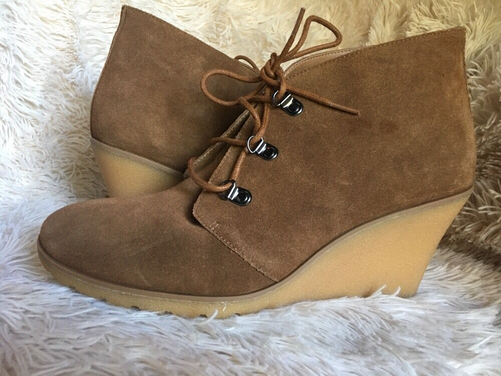 SUSINA Rawlin Wedge rust suede Bootie boots sz 9.5 W NEW