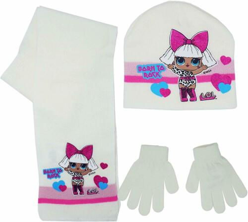 Girls Official Lol Surprise Winter Hat Gloves and Scarf Set 3 PCs Set Age 4-9Y