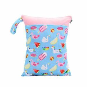 Waterproof-Double-Zip-Wet-Bag-Pink-Summer-Ice-Cream-30x40cm