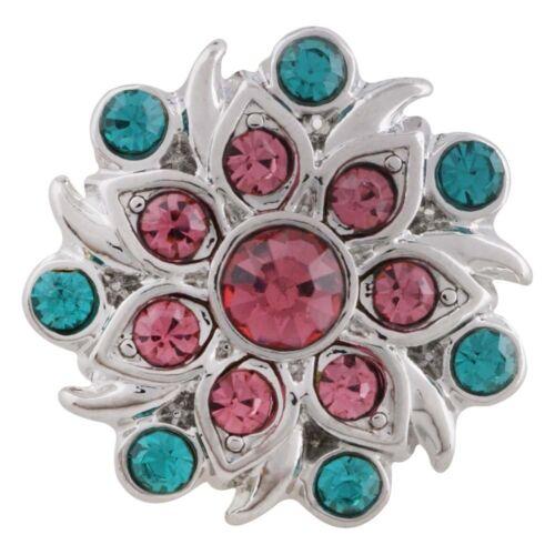 Button Click Druckknopf 6468 Blume Kristalle kompatibel Chunk Armband