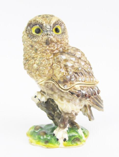 Bookbook Owl Jewelled Trinket Box or Figurine