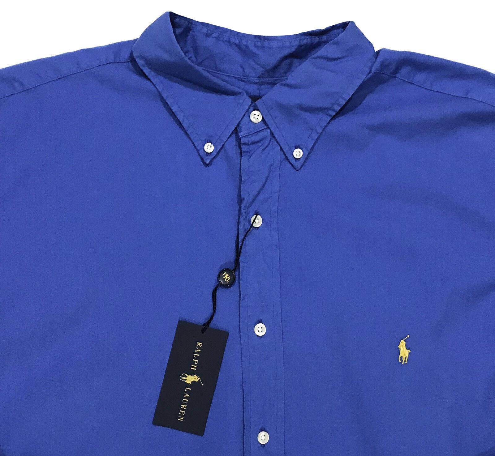 Men's RALPH LAUREN Vivid bluee Feather Weight Twill Shirt XLT Tall NWT NEW Nice