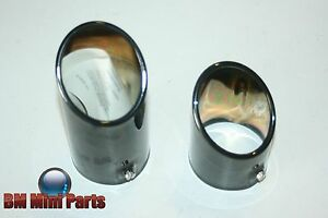BMW-E46-BLACK-CHROME-TWIN-EXHAUST-TAILPIPE-TRIM-NLA-82129410931