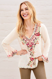 JOHNNY-WAS-Embroidered-V-Neck-CRISTABELLA-BLOUSE-Floral-Cupra-Tunic-XS-268