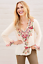 JOHNNY-WAS-Embroidered-V-Neck-CRISTABELLA-BLOUSE-Floral-Cupra-Tunic-XS-268 thumbnail 1
