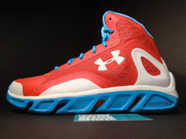 UNDER ARMOUR UA SPINE BIONIC BASKETBALL SHOES RED WHITE BLUE 1238198-601 Sz 13