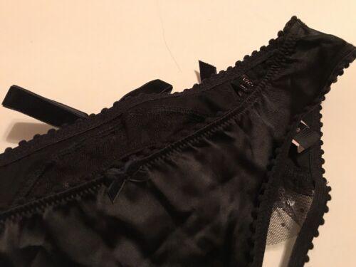 Victoria/'s Secret Black Satin Open Back Bikini Panty Small NWT Tulle Crystalized