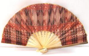 Handmade-Batik-Bamboo-Folding-Hand-Fan-Orange-Brown-S-New