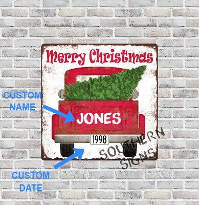 Custom Personalized Christmas Tree Name Date Red Truck 12x12 Metal Sign SS249