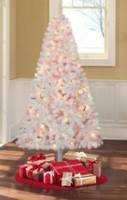 Madison Pine 6.5 ft 6 1/2 PreLit White Christmas Tree 400 Multi Color Light NEW