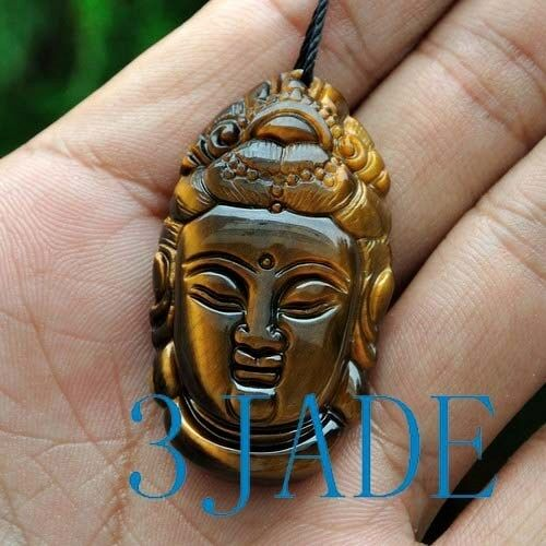 Natural Tiger/'s Eye Gemstone Kwan Yin Guanyin Pendant //Amulet Talisman
