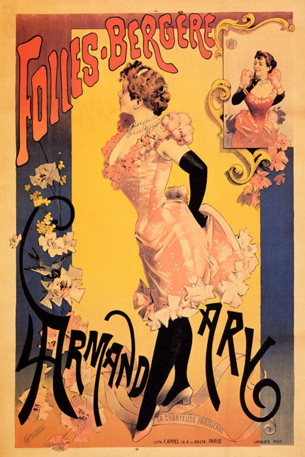 FOLLIES BERGERE ARMAND ARY SINGER SHOW GIRL PARIS FRENCH VINTAGE POSTER REPRO