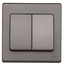 MK Avant 33922 RPBLABQ Flatplate Screwless Double 2 Way Light switch in Black