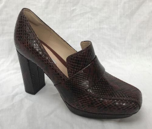 Tan de tacón cuero oscuro zapatos Ladies Clarks Gabriel Soho de Bnib de serpiente YxwR7Xq68