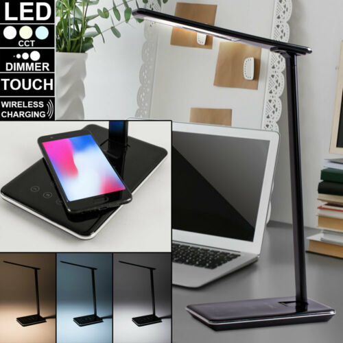 LED Nacht Tisch Leuchte dimmbar Tages-Licht ALU Touch Lampe Wireless Charger