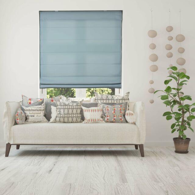 34.5 W x 72 H Calyx Interiors Light Filtering White Cordless Lift Fabric Roman Shade