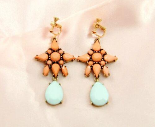Boucles d/'Oreilles Clip Pendante Etoile Goutte Orange Bleu Soirée Mariage B5