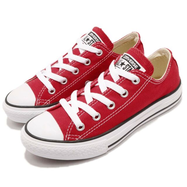 66553405661a Converse Chuck Taylor All Star OX Red White Canvas Kid Youth Casual Shoes  3J236C