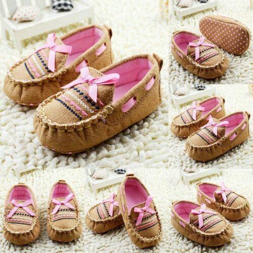 USA Baby Girl Bow Crib Shoes Newborn Prewalker Non-slip Soft Sole Sandals