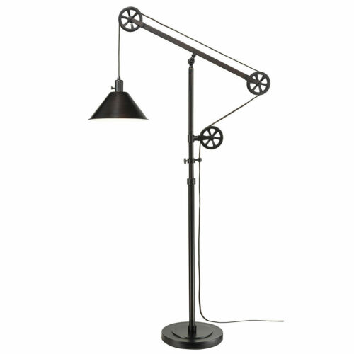 Industrial Style Pulley Floor Lamp with Adjustable Arm /& Steel Shade in Black
