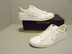 6544ec447324 Converse Women s Player LP Low Top Leather White Light Gold NIB ...
