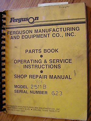 Ferguson 2511B PARTS MANUAL BOOK ROLLER OPERATION RUBBER TIRE ...