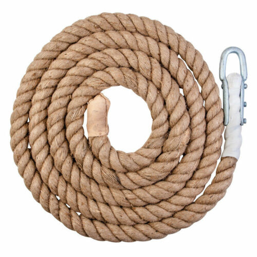 DON Climbing Abseiling Climbers Sport Natural Heavy Duty Rope With Clip 6 Metre