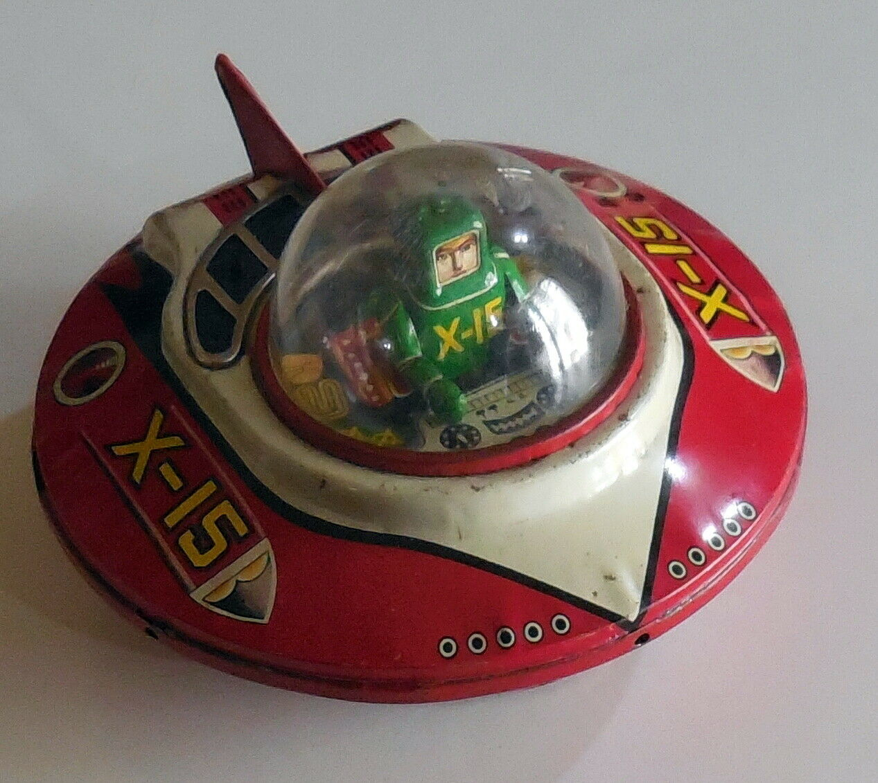 VINTAGE TIN TOY LITHO WIND UP SPACE SHIP X-15 KO MADE JAPAN 1960s ufo spaceman