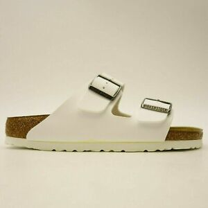 Ladies-Birkenstock-Arozona-BS-White-Sliders-Sandals-Narrow-Fit-Leather-Comfort