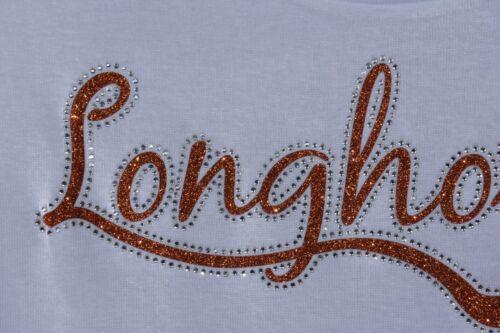 Longhorns rhinestone glitter  bling shirt XS S M L XL XXL 1X 2X 3X 4X 5X