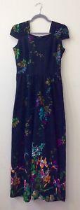 1970 S Jane Delfin Floral Midi Dress Uk 10-afficher Le Titre D'origine