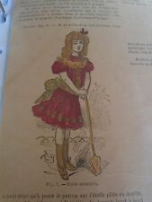 """PATRON ORIGINAL POUR LA POUPEE """" BLEUETTE """" ROBE ETE AVEC BRODERIE  MAI  1907"""