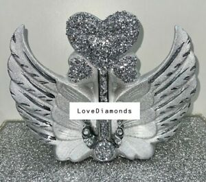 CRUSHED DIAMOND SILVER CRYSTAL STUNNING ARROW HEART IN WINGS, SPARKLY GIFT ✨
